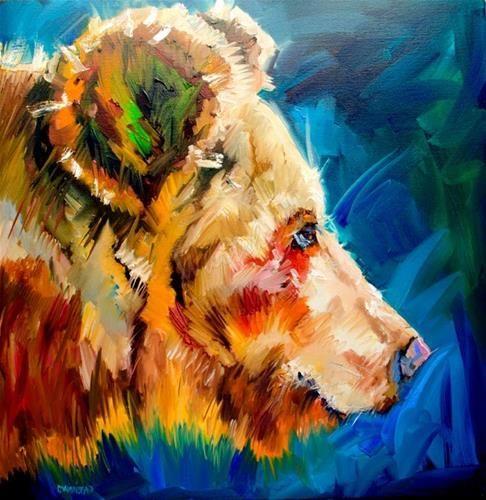 "Daily Paintworks - ""ARTOUTWEST DIANE WHITEHEAD BEAR YEARLING WILDLIFE ANIMAL ART"" - Original Fine Art for Sale - © Diane Whitehead"
