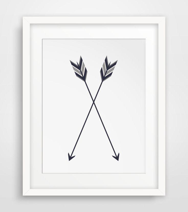 Arrow Print Two Arrows Crossed Arrow Wall by MelindaWoodDesigns