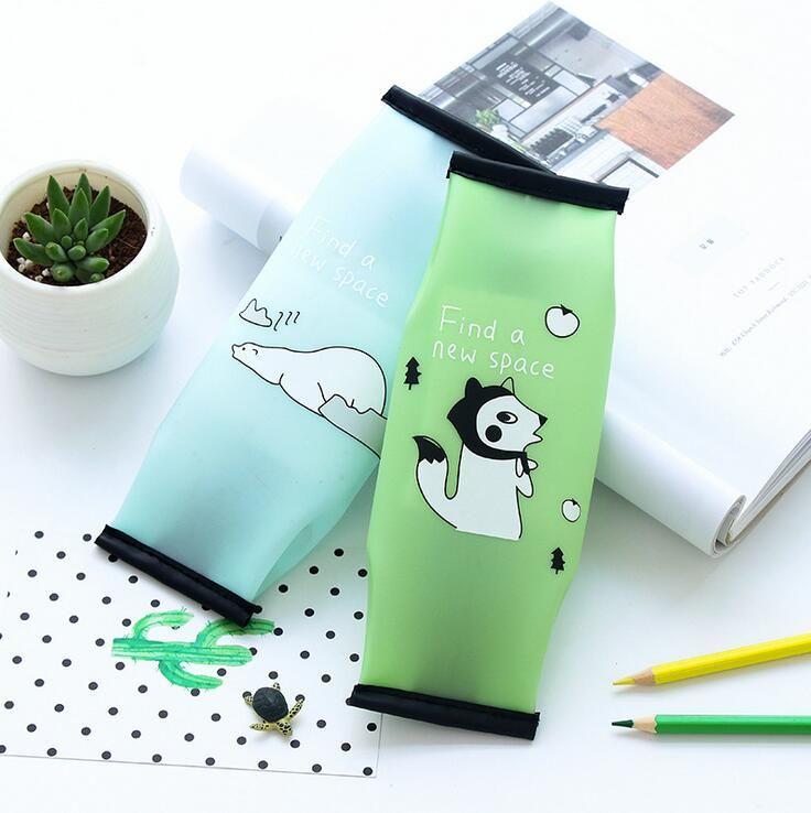 Popular Cartoon Animal Jelly Silicone Waterproof Pencil Case Stationery Storage Organizer Bag School Office Supply Escolar