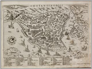 Antique maps Camocio   1566-71 Turkey, Istanbul,  Title: Costantinopoli