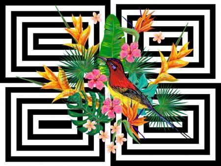 Baixar - Padrão tropical de Verão sem costura com aves, folhas de palmeira e flores exóticas de fundo vector. Perfeito para papéis de parede, preenchimentos de padrão, planos de fundo de página da web, texturas de superfície, têxteis — Ilustração de Stock #143877809