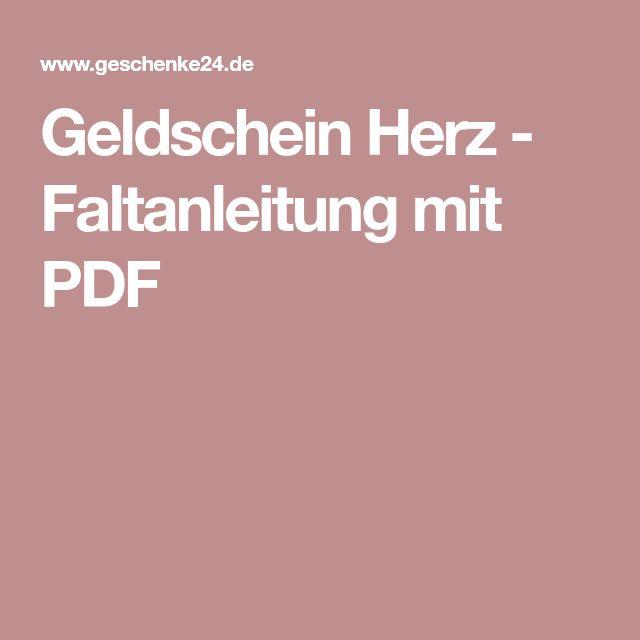 Geldschein Herz - Faltanleitung mit PDF