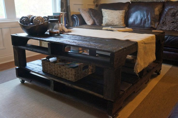 This is the pallet coffee table we're thinking of making, but with vintage casters on the bottom. We can also cut the pallets down to a smaller size as needed. We're wanting to go more rustic with the stain, too, so it doesn't look too perfect.