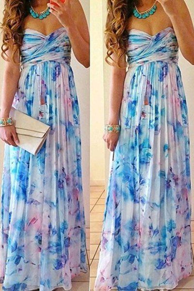 Stylish Strapless Sleeveless Floral Print Dress For Women