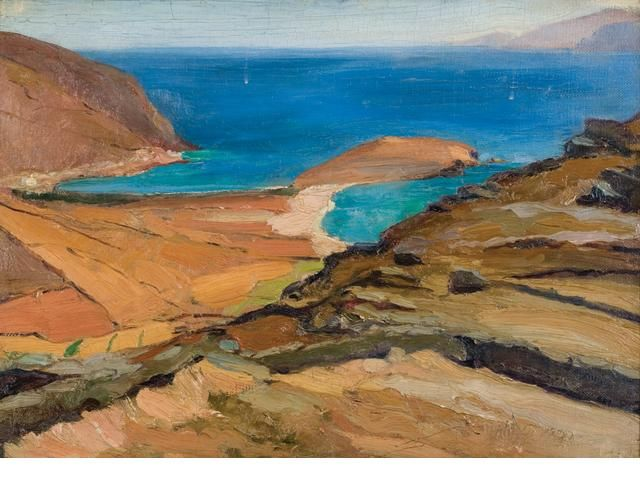 Nikolaos Lytras (1883-1927) Shores of Tinos 49 x 69 cm. (19 1/4 x 27 1/8 in.)
