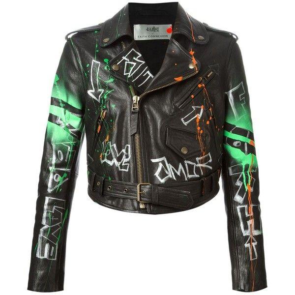 Faith Connexion Graffiti Biker Jacket ($1,233) ❤ liked on Polyvore featuring outerwear, jackets, black, coats & jackets, lamb leather jacket, multi colored jacket, black biker jacket, lambskin leather jacket and black motorcycle jacket