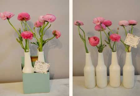 Painted bottles with flowers
