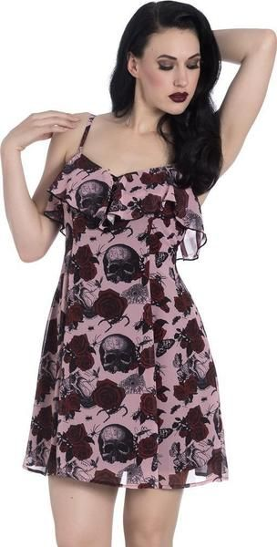 9695dbe6f1c4 Printed dress with ruffle trims. Print features skulls, roses, spiders,  spider webs