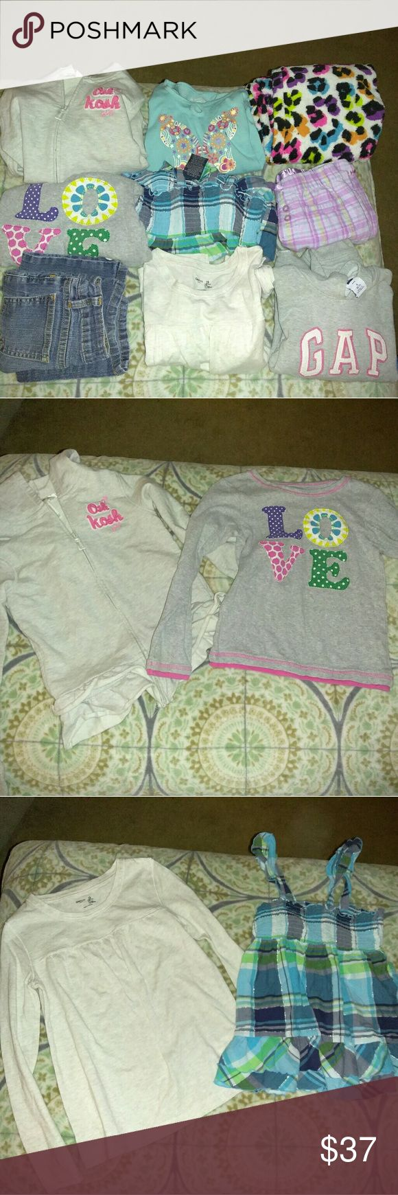 (9) 6-6x girls clothes The second picture is a Oshkosh jacket and a long sleeve Carter's Shirt. Both size 6x.  The third picture is one tank top and gap long sleeve 6 and 6x..   the forth picture is an American girl long sleeve shirt size 6, and a gap hoodie size 6-7..  the fifth picture is 2 PJs and 1 blue jeans.  6 and 6x.     All in perfect condition all Other