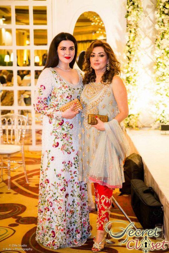 Natasha Khalid in Saniya Maskatiya with her mom Hina Khalid wearing her sister Mina Hasan's design