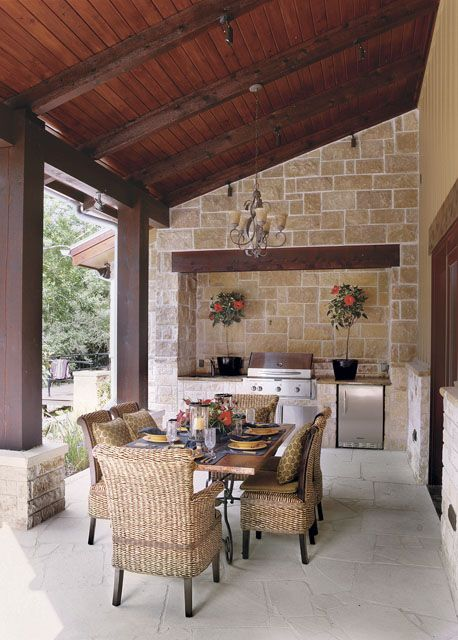 This is an attainable version of a porch with an outdoor kitchen. Like everything from the pitch of the roof to the materials. If I could have a back porch of this width and maybe twice the length that the pic shows, I would be happy.