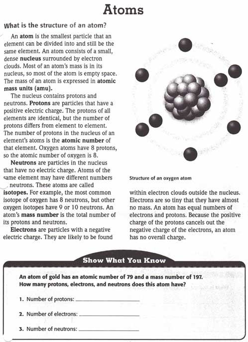 Atoms worksheet | Science: Chemistry | Pinterest | The Body, Atoms ...