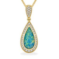 Yellow Gold Pendant with Opal Inlay and Diamonds (Chain Included) - Opal Inlay - Kabana Jewelry - Designer Collections - Shop