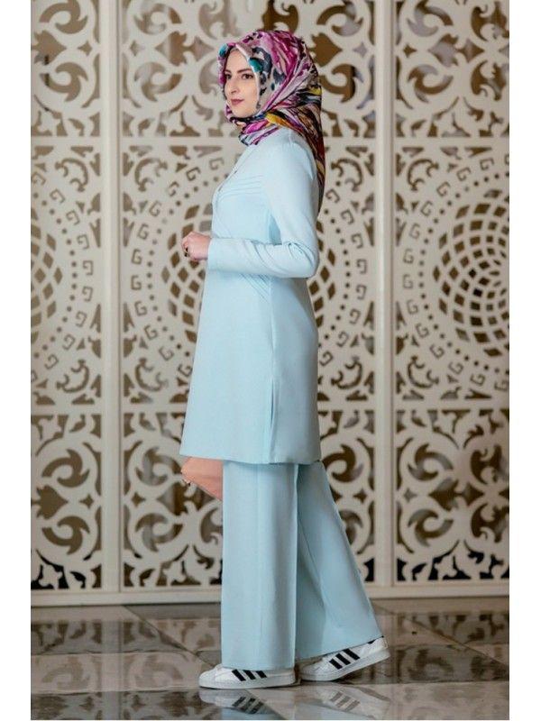Rabia Şamlı Defne Nervürlü Takım Bebe Mavisi