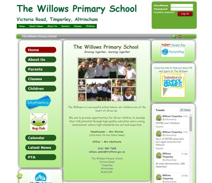 The Willows Primary School in Trafford have a welcoming front page keeping parents up to date with the latest happenings of the school. They are currently promoting their new Parent Pay system and have always kept their modern social networking parents in the loop with their embedded Twitter feed sharing photographs at the same time.