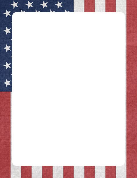 Printable American flag border. Free GIF, JPG, PDF, and PNG downloads at http://pageborders.org/download/american-flag-border/. EPS and AI versions are also available.