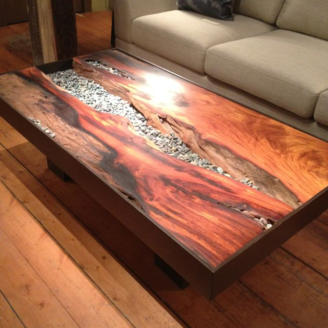 River rock and wood table.