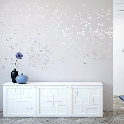 Cutting Edge Stencils - Flock Of Cranes Stencil. This would be gorgeous on a neutral wall done in a metallic color - gold/copper on white would be a gorgeous pop, whereas the silver on grey is nice and subtle.