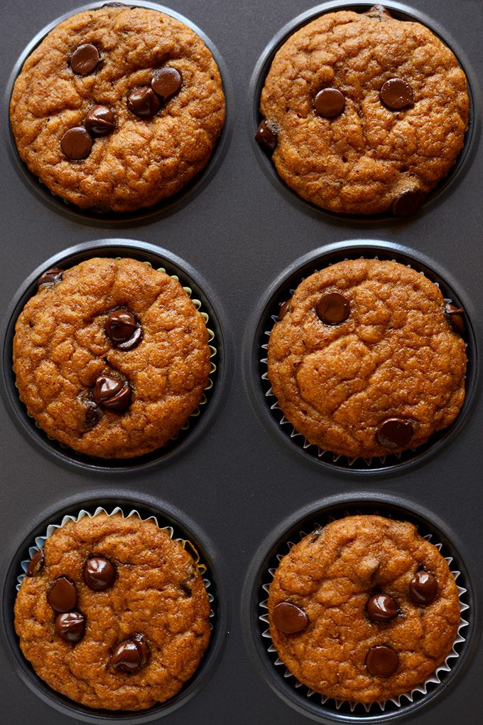 Vegan pumpkin muffins that are tender and sweet, studded with chocolate chips. The perfect fall breakfast or take-along snack.