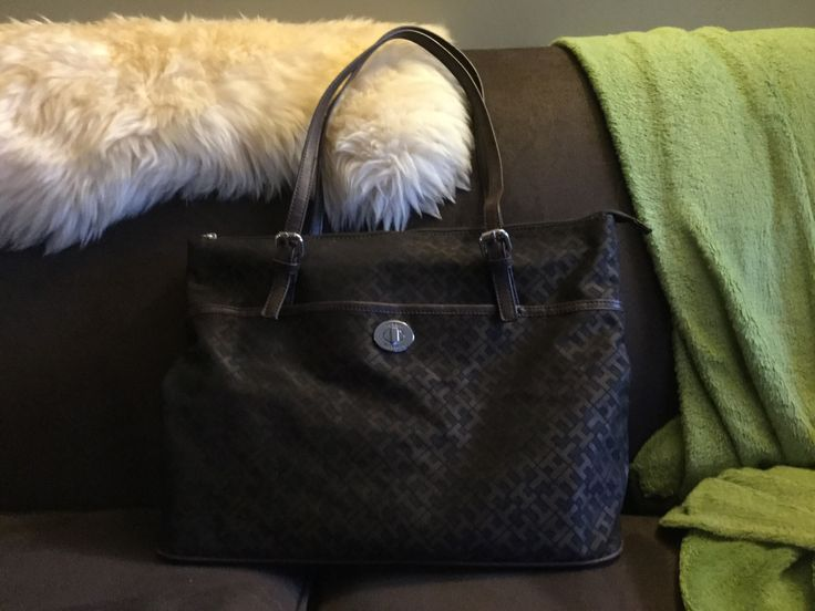 Tommy Hilfiger Brown/Black Signature Canvas Tote (Found at Talize/Kitchener in NWOT Condition for $12.99)