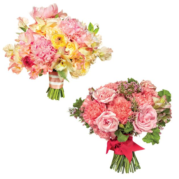 Preppy Wedding Bouquets -splurge vs save options - including flowers in the bouquets