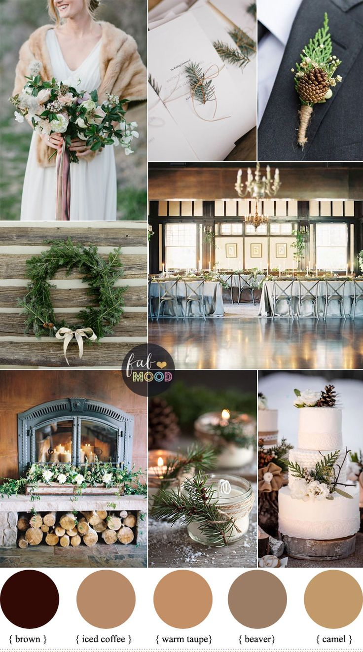 Rustic Winter Wedding in shades of neutral { Warm Taupe + Brown + Camel | Fab Mood #winter #weddinginspiration