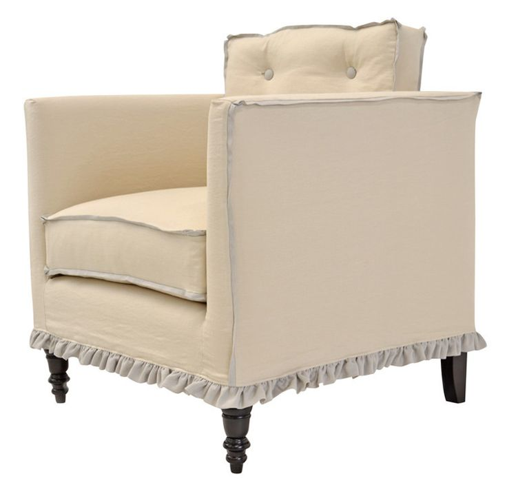 quatrine furniture. Quatrine Furniture - Francis Slipcovered Chair With Tufted Back And Mini Ruffle Skirt S