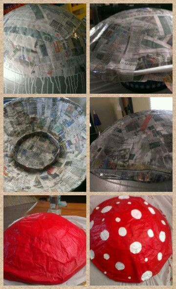 My Mushroom cap hat for tour de fat! Paper mache shaped onto an exercise ball and acrylic paint
