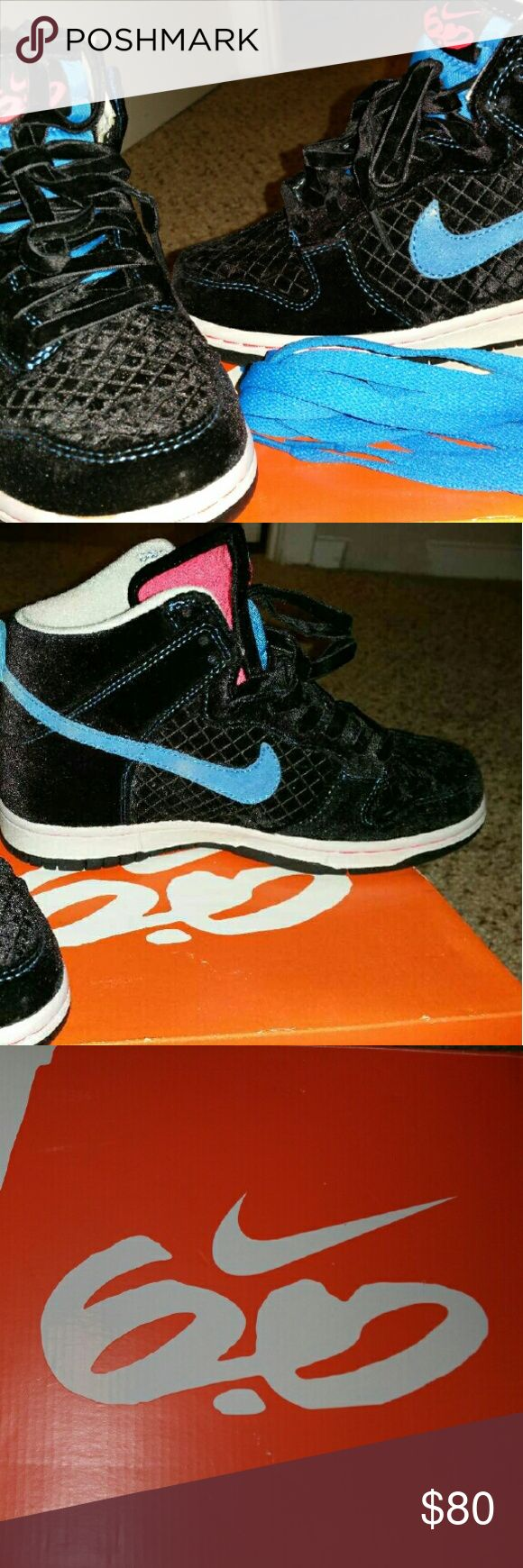 Womans Nike dunk high 6.0 Velvet texture black with blue stitching Nike dunk high 6.0  Blue shoe laces included  Mint condition  Worn once Nike Shoes Sneakers