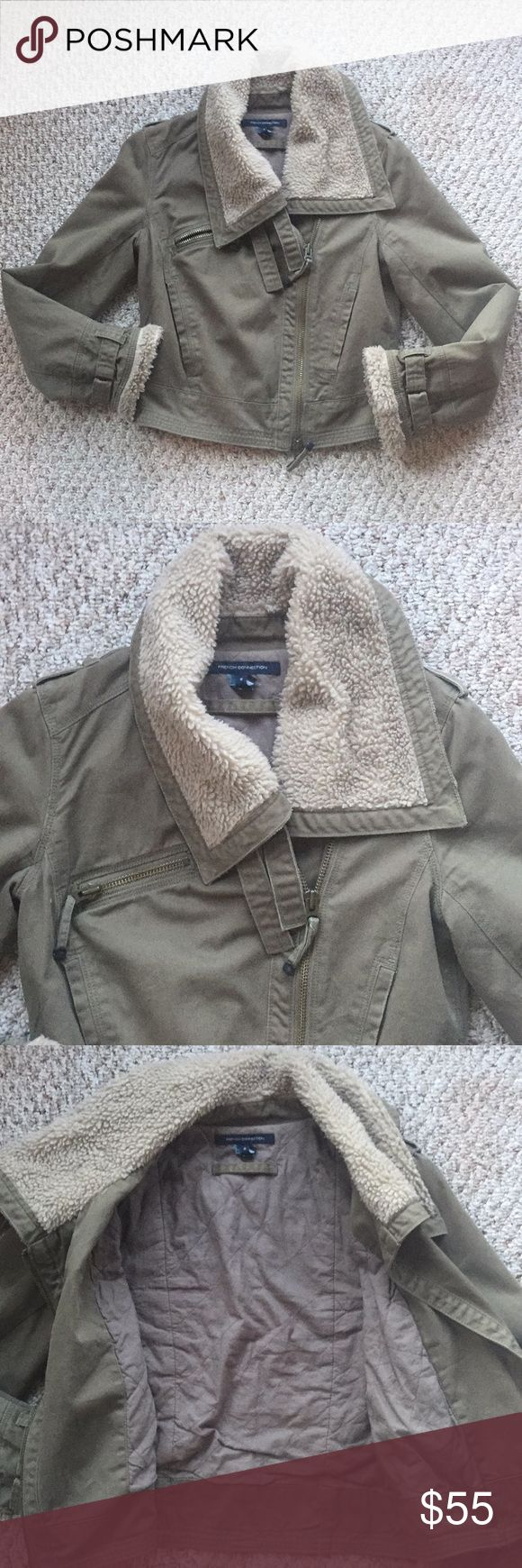 French Connection Army Green Jacket French Connection Army Green short jacket. Hits right at the waist. Not cropped. Length almost 11 inches. Arm length a lil over 23 inches. Armpit to armpit about 17 inches. Great condition. All cotton. French Connection Jackets & Coats