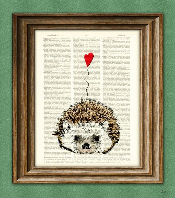 I Love You Valentine HEDGEHOG with heart print by collageOrama