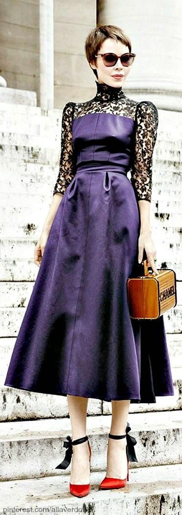 Come on! So so so pretty. Street style - Ulyana Sergeenko...not the hair, but the dress is perfection