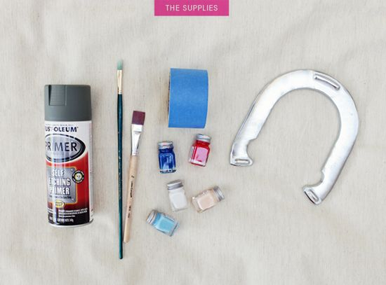 Use 400 grit sandpaper, self-etching primer (found at auto stores), enamel paint for painted horseshoes.