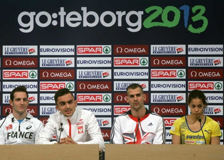 Renaud Lavillenie of France, Adam Kszczot of Poland, Robbie Grabarz of Great Britain and Angellica Bengtsson of Sweden during the official European Athletics and Göteborg 2013 LOC press conference at the Scandinavium arena in the Göteborg on Thursday.