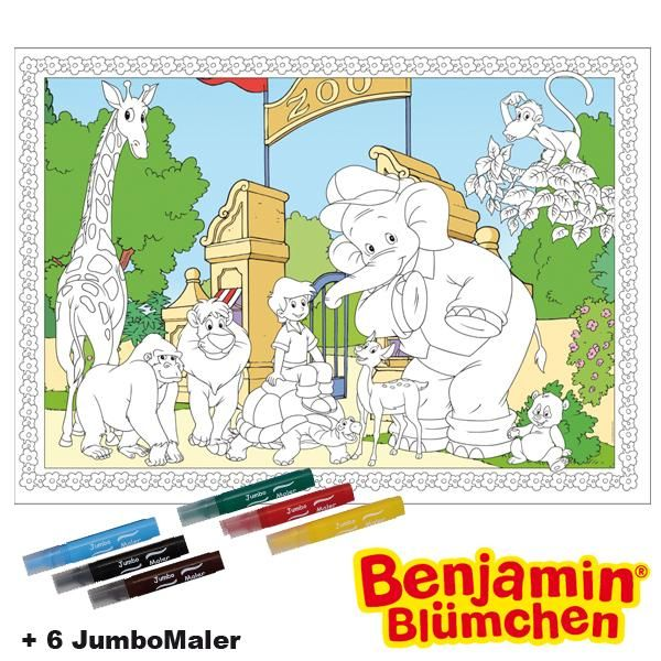#BoMaBi #Benjamin Blümchen ● Poster 118 x 84 cm zum #ausmalen incl. 6 Jumbomalern ● #Malen, #Spielen, #joyPac®
