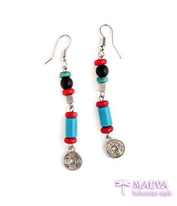 Ethnic earrings, gypsy jewelry, bohemian style, boho earrings