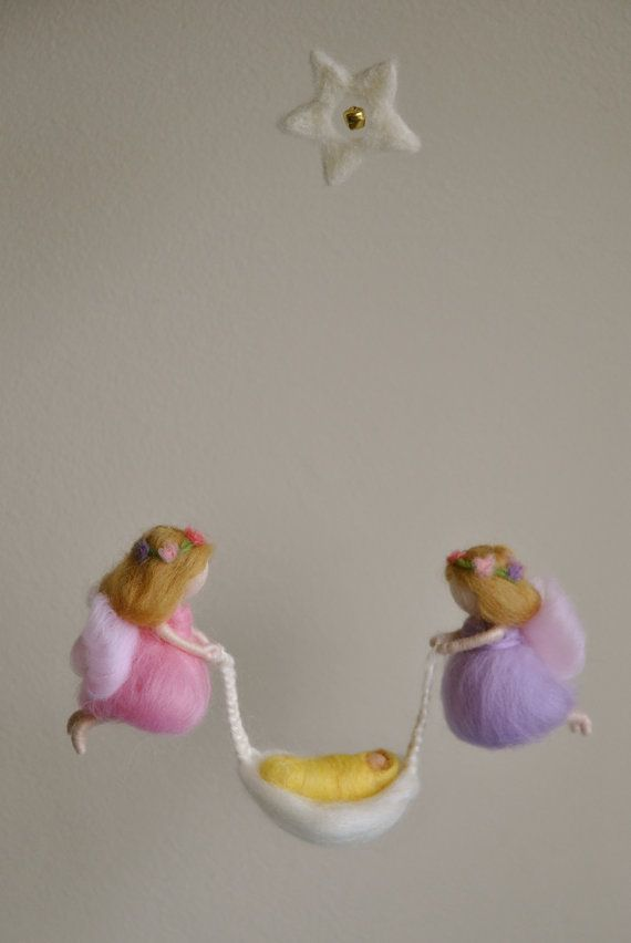 Baby Mobile Waldorf inspired needle felted: Fairies with Baby