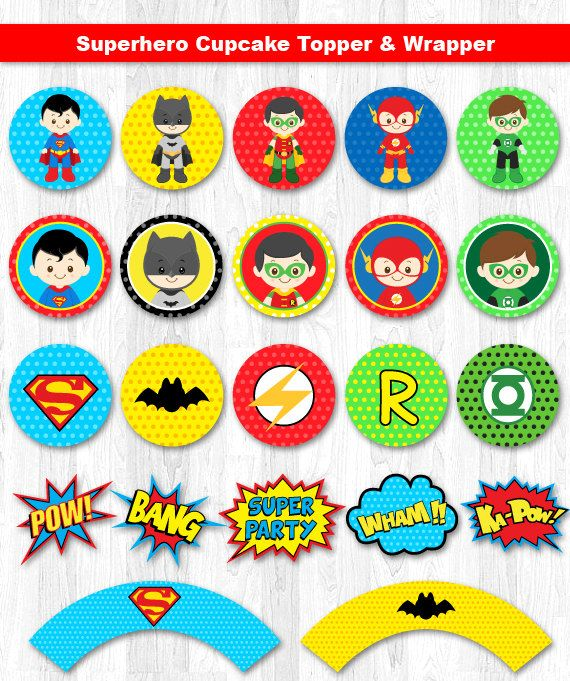 Superhero Cupcake Toppers Superhero Cupcake Wrappers by KidzParty