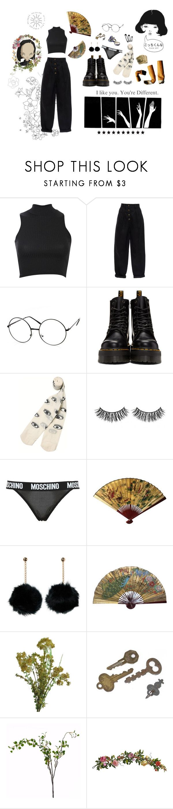 """""""black like your eye is gonna be if you don't back off"""" by fawnlxt ❤ liked on Polyvore featuring Pilot, ZeroUV, Dr. Martens, Monki, Yumi, Rimini, Moschino, Anello, Abigail Ahern and Wyld Home"""
