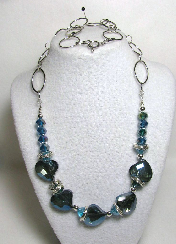 "Item 1364 - Beautiful AB Crystal Cut Blue Hearts, Crystal 12mm Beads, ChainMail to Flatter and Large Link Chain 27"" Necklace $48 + $5 S&H. (see matching bracelet)  Visit all my BEAUTIFUL jewelry pages, just follow the link: https://www.facebook.com/linda.foust.9?sk=photos..."