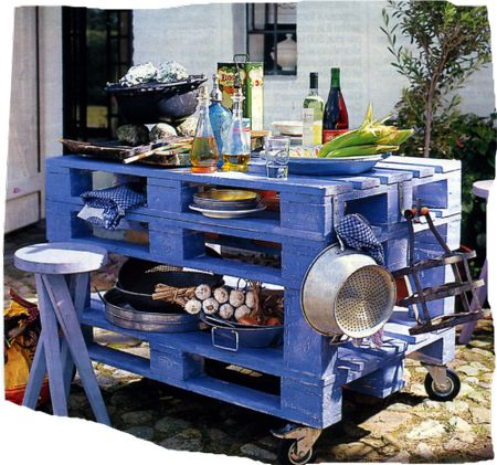 Pallet cart/table on wheels