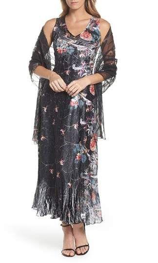 bc70169c96 Komarov Lace-Up Back Print Maxi Dress with Wrap