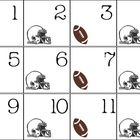 """These football themed calendar cards go from 1-31.  There are a couple """"no school"""" cards and a couple of blank cards.  Each card has a football or ..."""