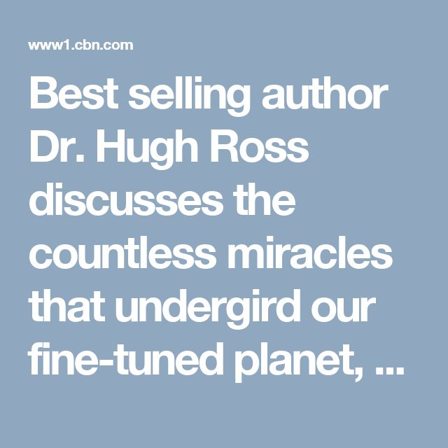 "Best selling author Dr. Hugh Ross discusses the countless miracles that undergird our fine-tuned planet, and how these ""amazing coincidences"" have a reasonable explanation."