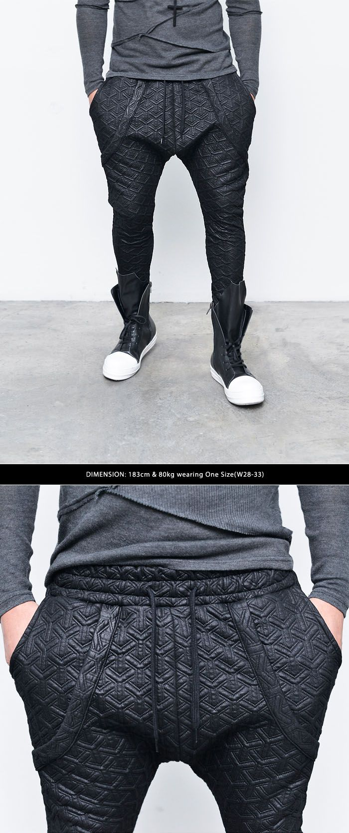 Bottoms :: Sweatpants :: Re) Coated Y Embossed Drop Jogger-Sweatpants 169 - GUYLOOK Men's Trendy Fashion Clothing Online