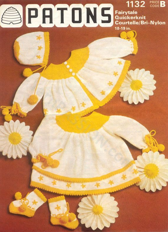 DK The Daisy Princess Baby Layette Patons 1132 Vintage