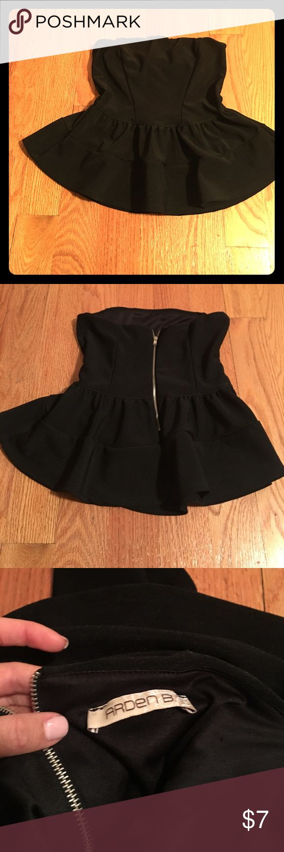 Super cute strapless black peplum top in black Super cute black peplum top in black from Arden B. In like new condition worn once. Arden B Tops Blouses