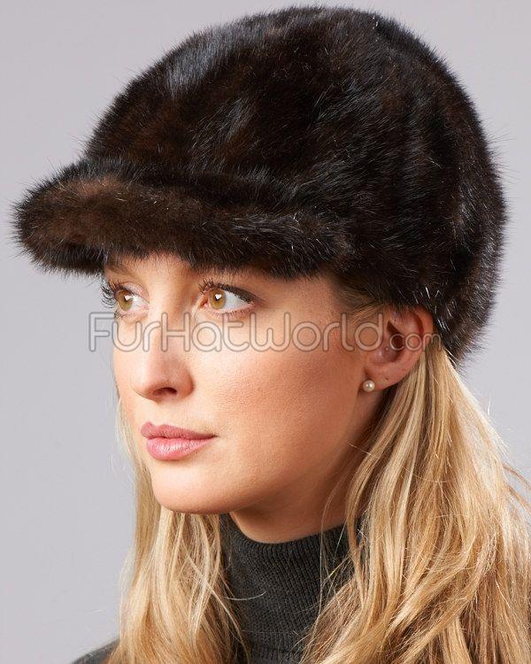Mink Fur Riding Hat - Mahogany