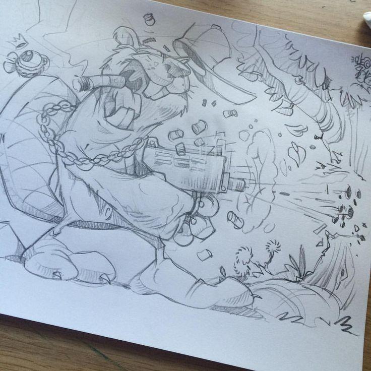 Hmmm a beaver shooting a tree...I have no idea why. #cheo #sketch