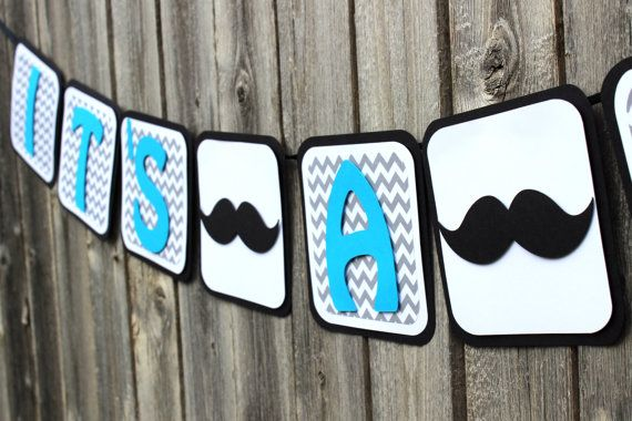 This modern chevron & mustache banner is perfect for any stylish little mans party. With the popular gray chevron print and just the right